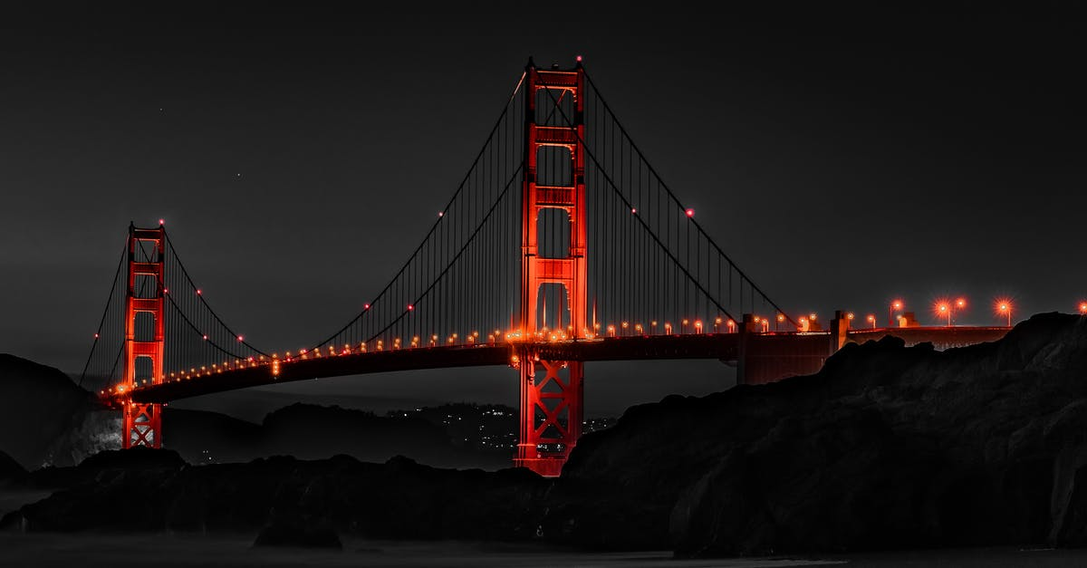 A train crossing Golden Gate Bridge over a body of water